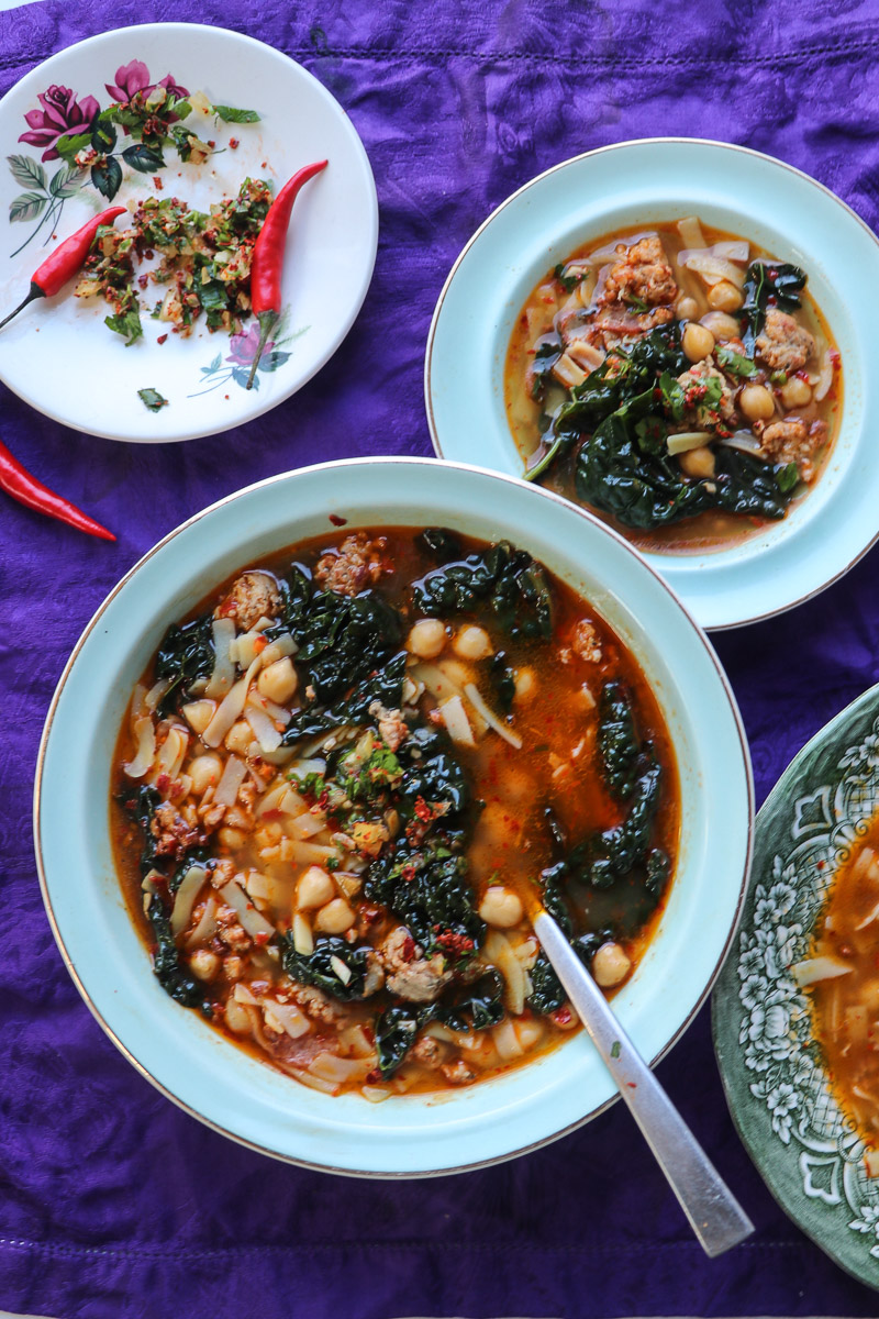 Chickpea and Sausage Noodle Soup with Cavolo Nero and Preserved Lemon and Chilli Gremolata