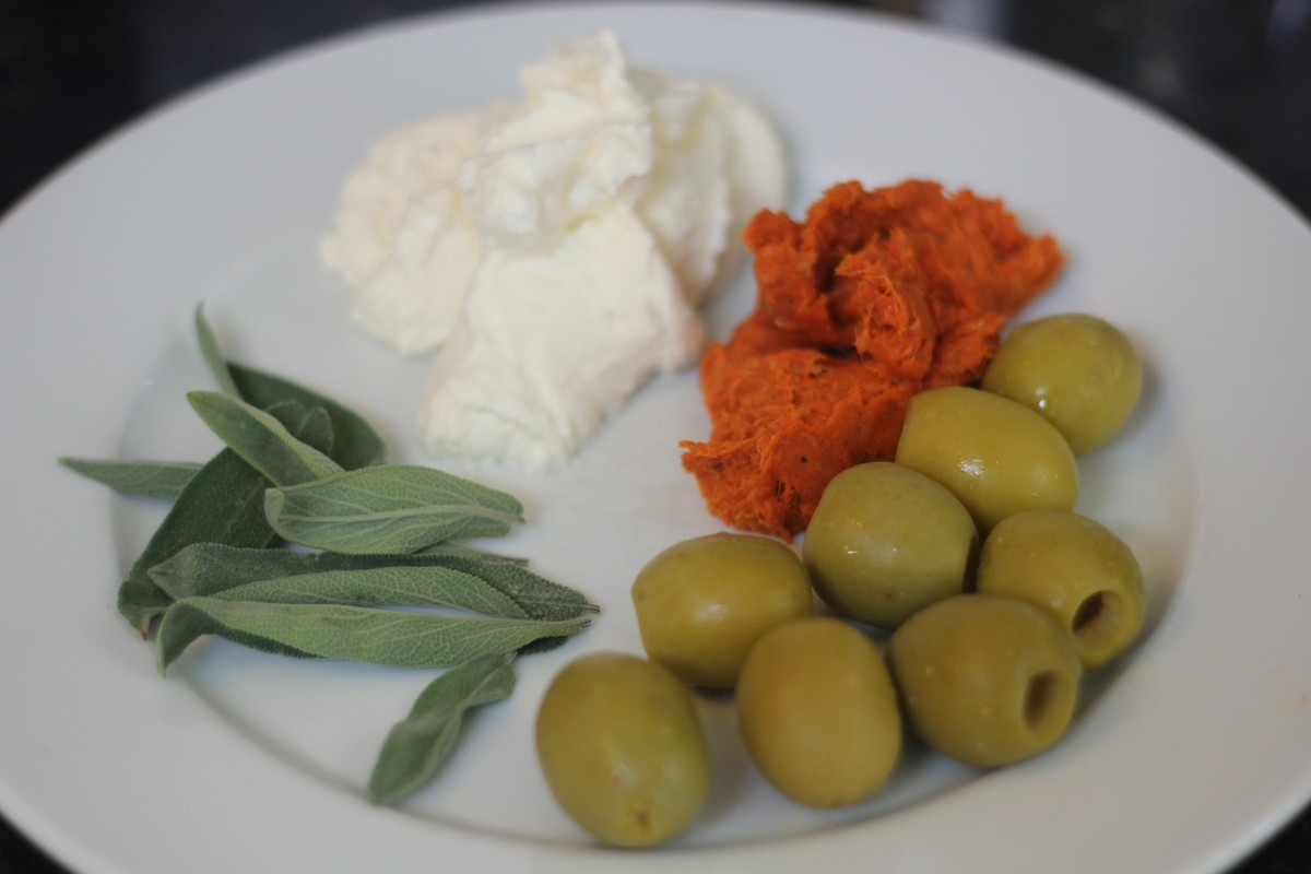 Queen Olives Stuffed with Sobrasada, Homemade Ricotta & Sage