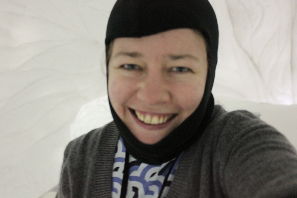 ICEHOTEL, Swedish Lapland - in balaclava and thermals about to go to bed