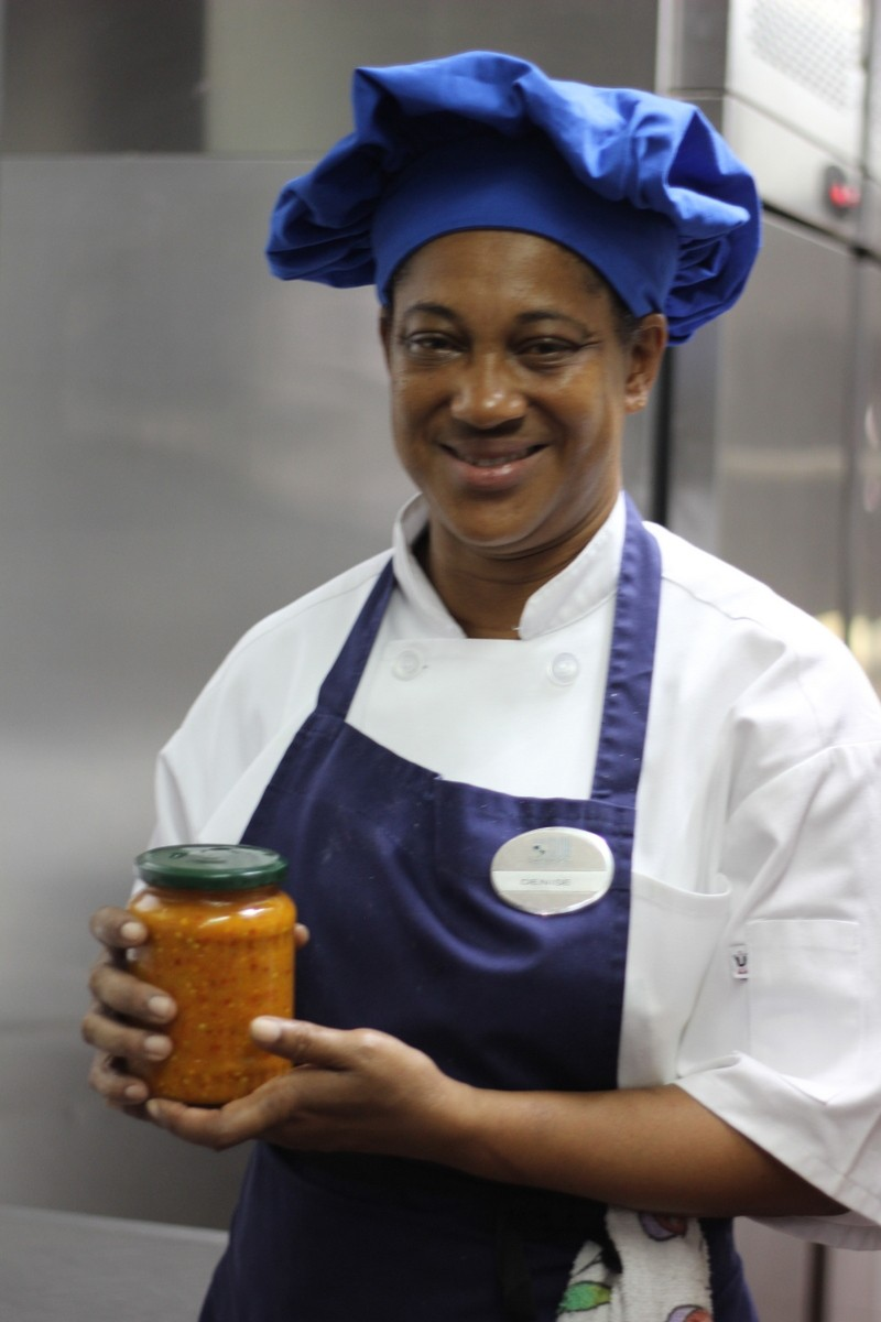 Denise with our finished pepper sauce