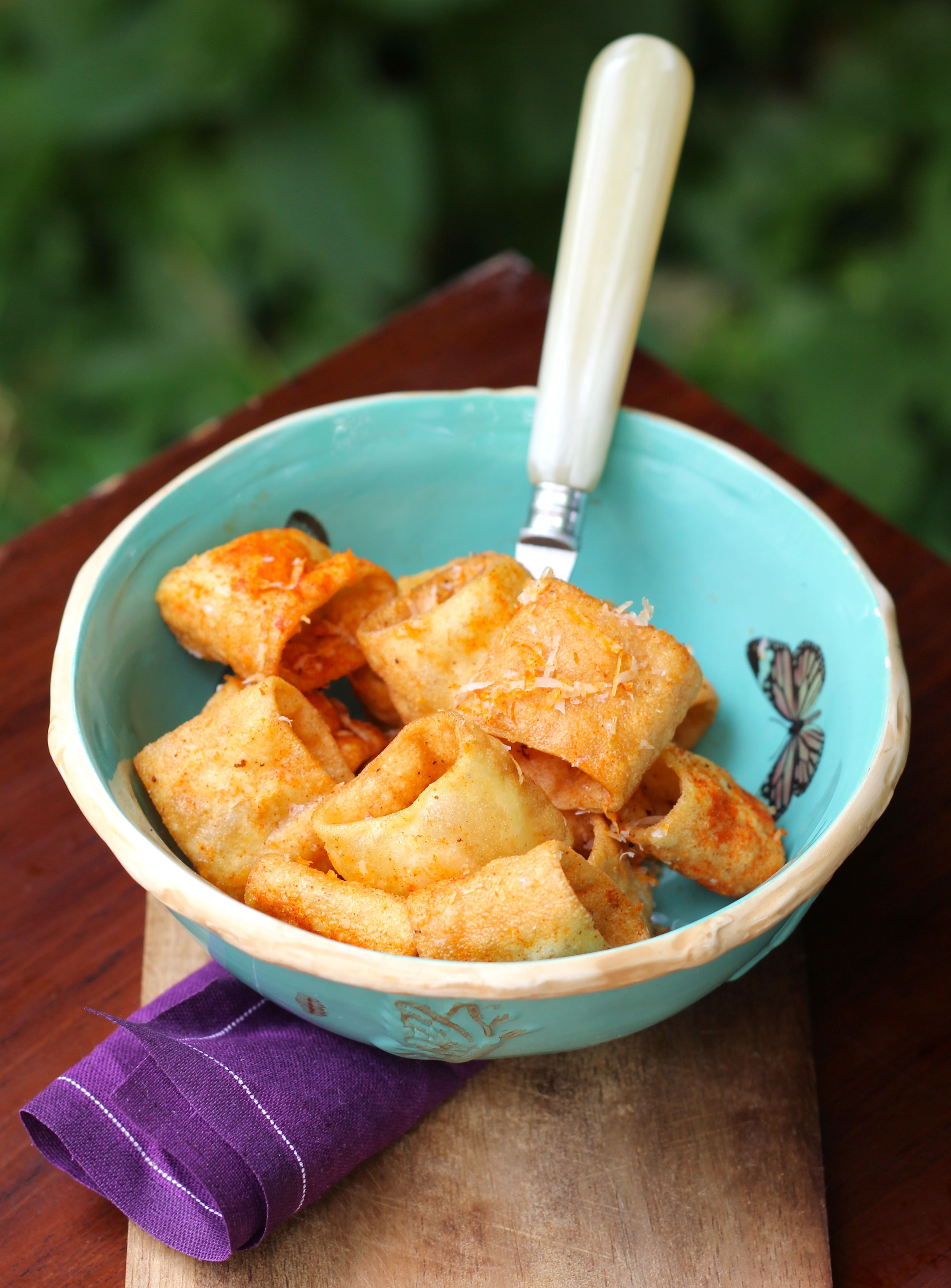 Deep Fried Pasta Snacks with Manchego & Paprika