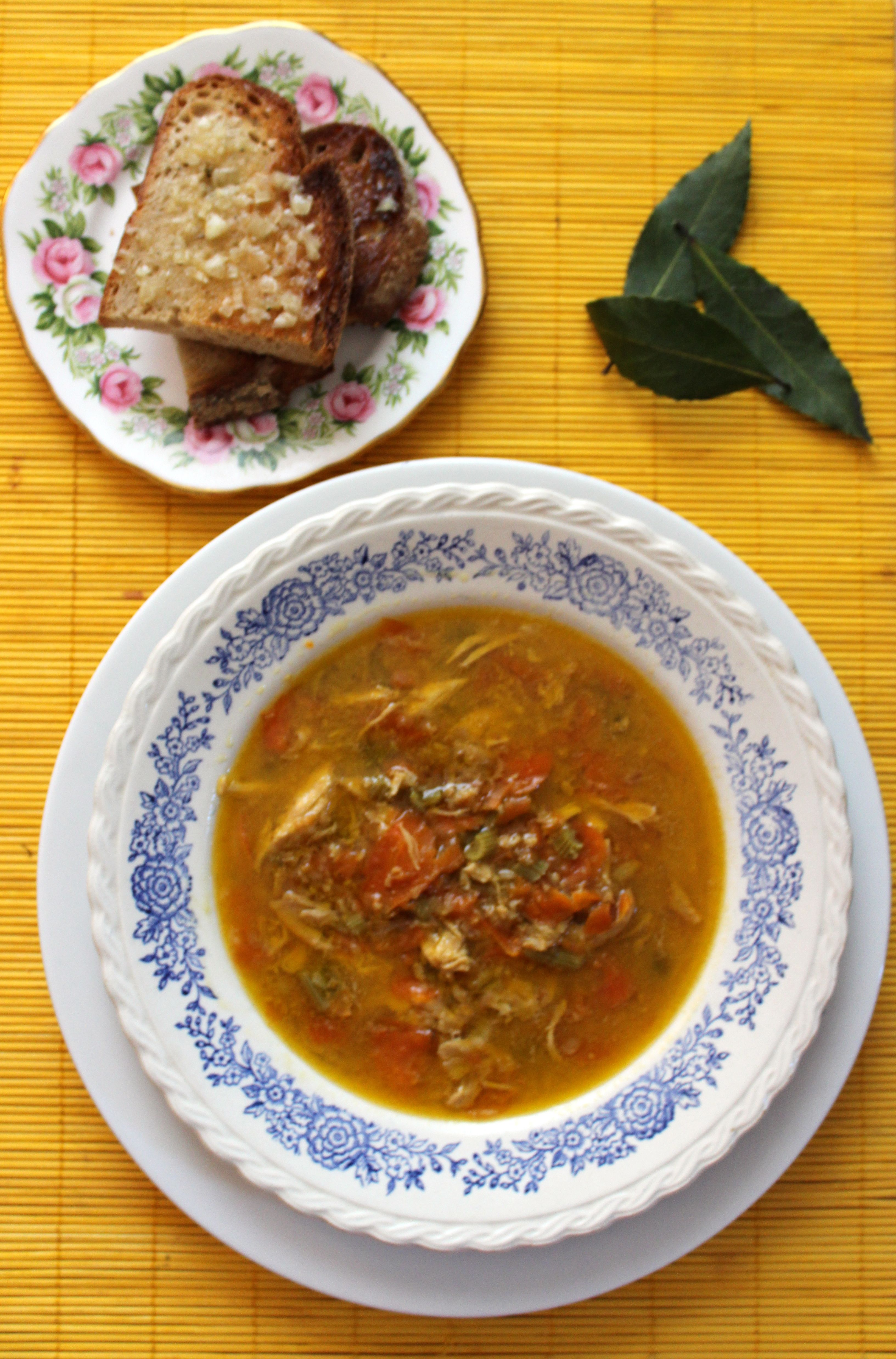 Chicken Soup with Garlic Butter Toasts