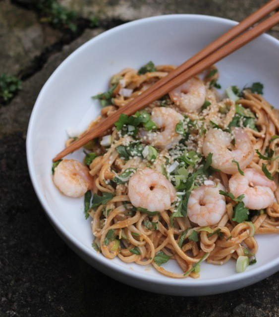 Fuchsia Dunlop's Spicy Peanut Butter Noodles with Prawns