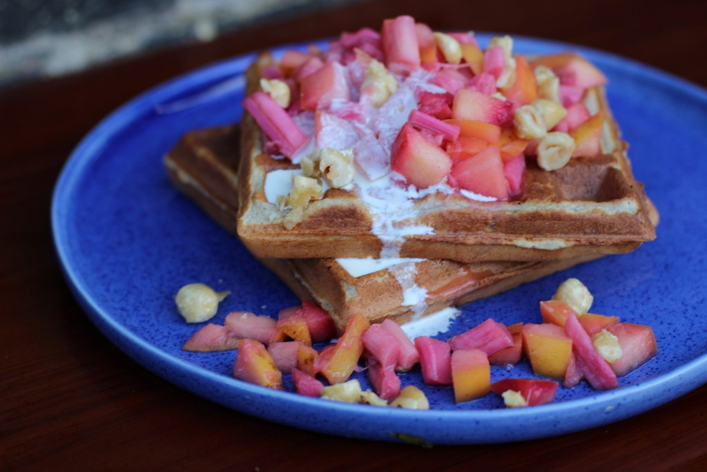 Buckwheat Waffles with Rhubarb, Apple & Candied Hazelnuts