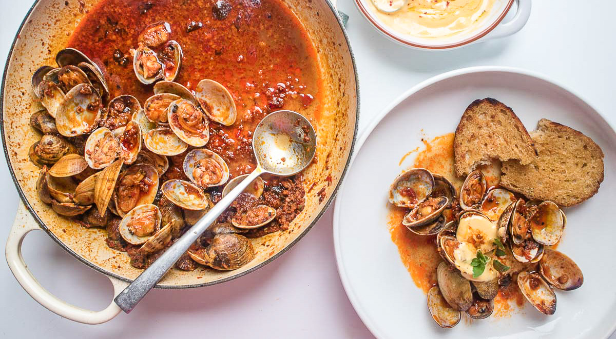 Nduja Clams with Garlic Aioli