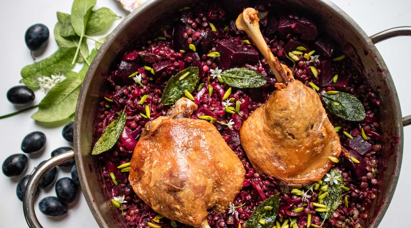 Confit Duck with Damson Plums, Puy Lentils, Beetroot and Sage